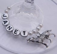 Wolf Personalised Wine Glass Charm